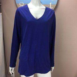 Eddie Bauer Long Sleeve T Shirt V Neck Blue